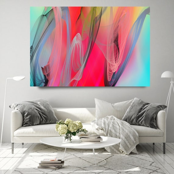 Teal Red Contemporary Wall Art, Office Decoration Vibrant Wall Art Electric Canvas Print, Home Decor, New Media, Color in the Lines 4-29-104