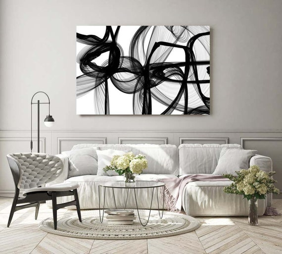 """Black And White Painting, The Invisible World-Movement, New Media vs Painting. 40H x 60W"""", Original New Media Abstract on Canvas"""
