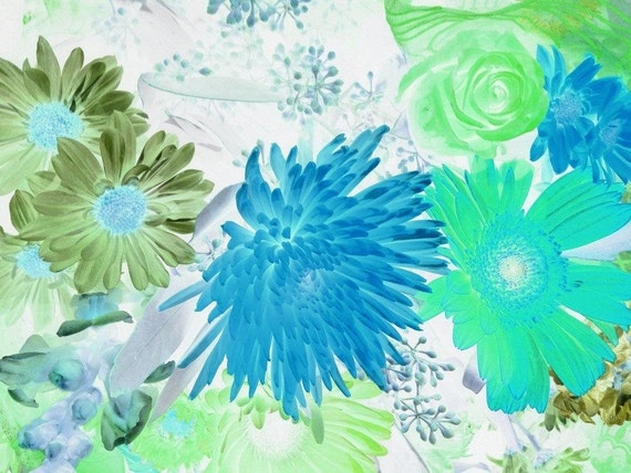 "Soul blossoming in nature. Floral Painting, Blue Green Abstract Art Abstract Colorful Contemporary Canvas Art Print up to 72"" by Irena Orlov"
