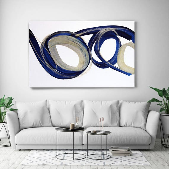 "Deep Blue and Gold Circles 2. Abstract Paintings Art, Extra Large Abstract Blue Gold Contemporary Canvas Art Print up to 72"" by Irena Orlov"