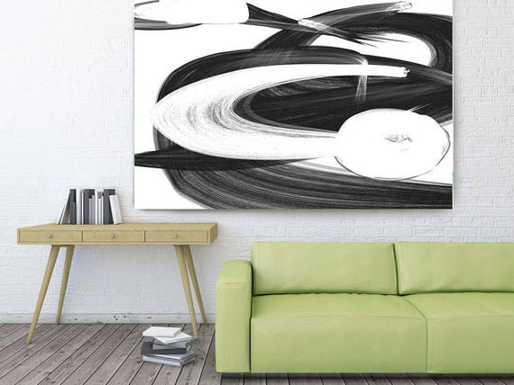 """Passage of time. Abstract Black and White, Black and White Painting Print, Large Contemporary Canvas Art Print up to 72"""" by Irena Orlov"""