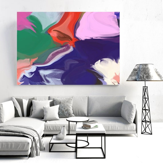 """Courage of Time 2, Abstract Painting Modern Wall Art Painting Canvas Art Print Art Modern Purple Pink Green Yellow up to 80"""" by Irena Orlov"""