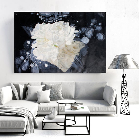 Blow Away on The Wind 4. Black and White Floral Painting, blossom canvas art print, blossoming painting, floral painting, blossoming