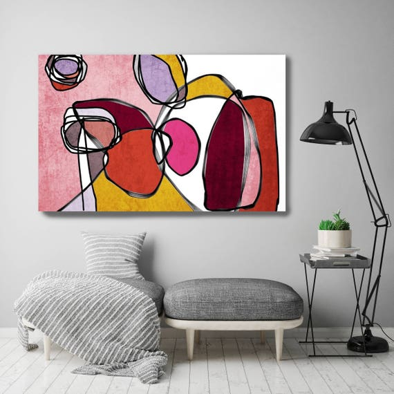 "Vibrant Colorful Abstract-0-50. Mid-Century Modern Red Pink Canvas Art Print, Mid Century Modern Canvas Art Print up to 72"" by Irena Orlov"