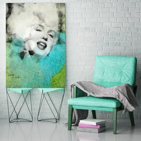 "Unique Captured Moments. Marylin. Aqua Green Female Figurative Canvas Art Print. Celebrity Portrait Canvas Art up to 72"" by Irena Orlov"