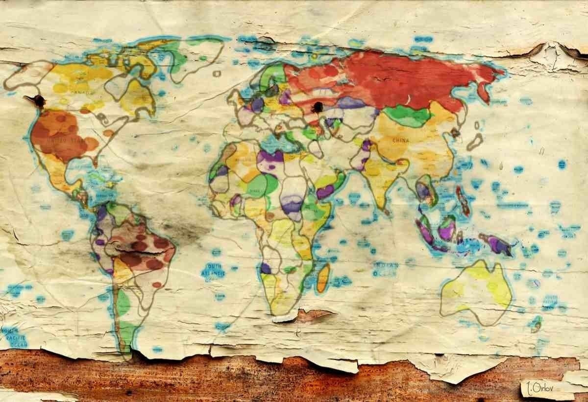 Aged World Map. Large Canvas Art Print. Large Wall Art for Home ...