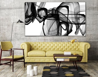 Black And White Abstract Canvas Wall Art I Exist. Abstract Black and White, Contemporary Unique Abstract Wall Decor, Large Canvas Art Print