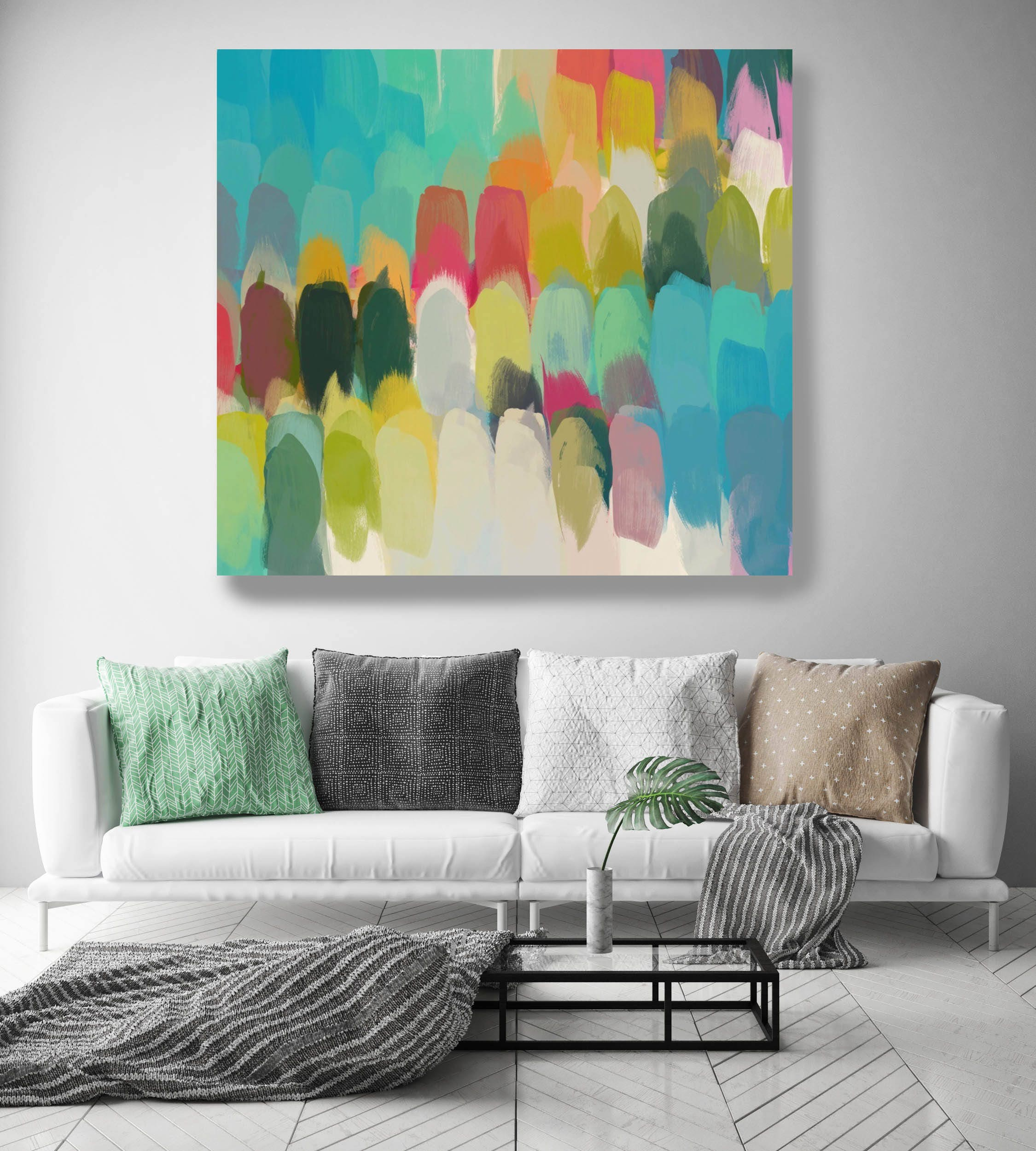Color Palette 2 Green Aqua Abstract Art Wall Decor Large
