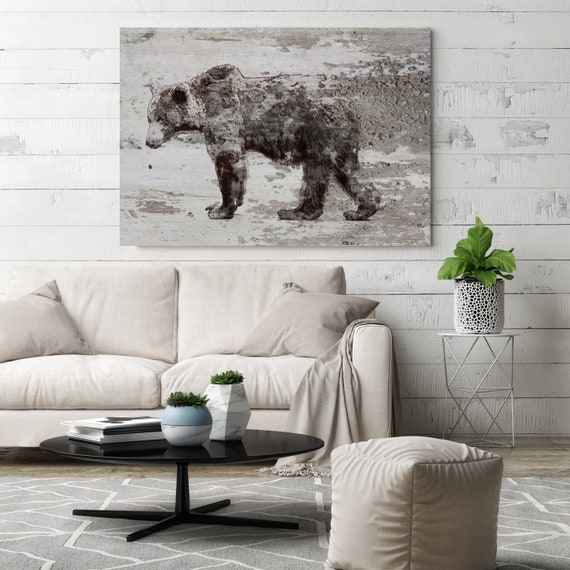 "Grizzly Bear Walking Bear Art Large Canvas, Bear Art, Black Brown Rustic Bear, Rustic Vintage Bear Wall Art Print up to 81"" by Irena Orlov"