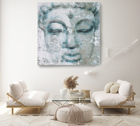 Blue Buddha Painting Canvas Print, Buddha Wall Art, Spiritual Buddha Wall Art, Buddhist art, Zen wall painting, Canvas Wall Art Print