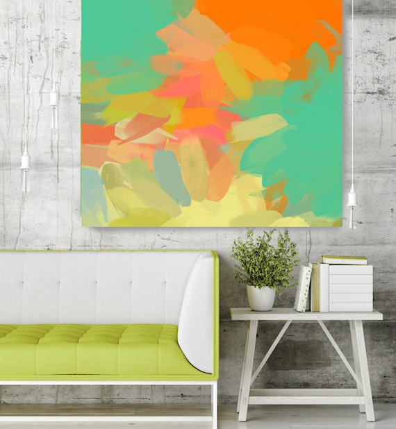 """Kaleidoscope N 145-2. Geometrical Abstract Art, Wall Decor, Large Abstract Orange Green Canvas Art Print up to 48"""" by Irena Orlov"""