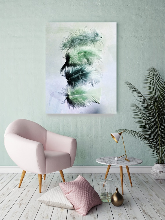 """ORL-11756-1 Elegant feathers in light green. Blue, Green Feather Photography, Extra Large Feather Canvas Art Print up to 72"""" by Irena Orlov"""