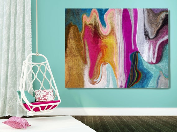 "4599X990 Abstract Rhythms NO 36. Abstract Paintings Art, Extra Large Abstract Colorful Purple Aqua Canvas Art Print up to 72"" by Irena Orlov"