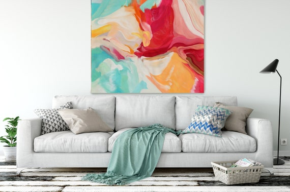 """ORL-10970 Serenade, Red Aqua Yellow Abstract Painting, Pink Aqua Blur Canvas Art Print up to 48"""" by Irena Orlov"""