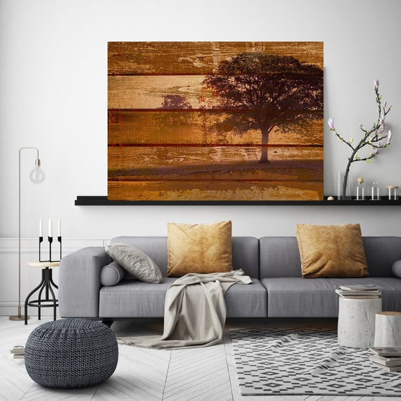 "Misty tree. Huge Rustic Landscape Painting Canvas Art Print, Extra Large Beige Brown Canvas Art Print up to 80"" by Irena Orlov"