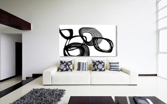 "Abstract Expressionism in Black And White 2. Unique Abstract Wall Decor, Large Contemporary Canvas Art Print up to 72"" by Irena Orlov"