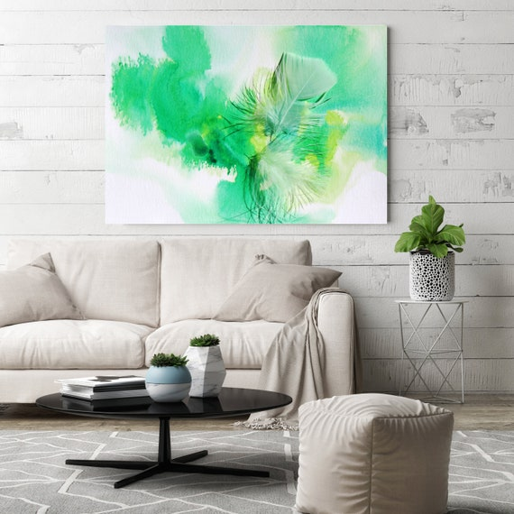 """ORL-11774-1 Elegant colorful feathers 9, Green Feather Photography, Extra Large Feather Canvas Art Print up to 72"""" by Irena Orlov"""