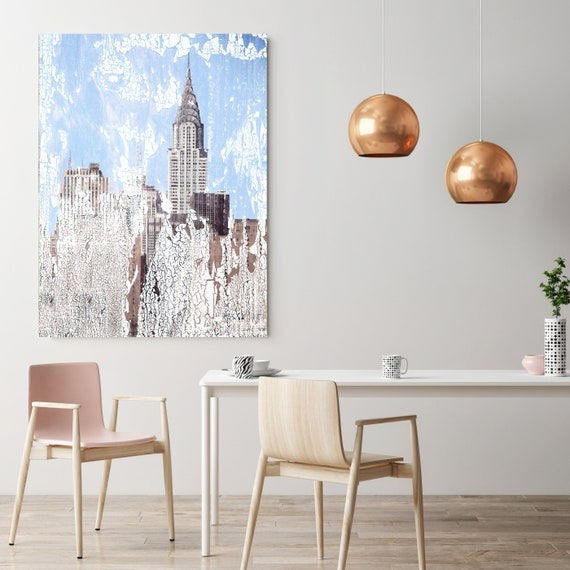 Chrysler Building Art Deco 1, Cityscape Art, Urban Art, City Wall Art, New York Wall Art, Blue Large Painting City, Urban Canvas Art Print