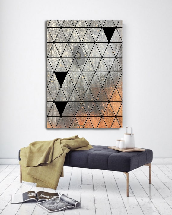 """Geometric and Rust abstract 33-2, Large Geometrical Canvas Art, Grey Industrial Contemporary Wall Art Print up to 72"""" by Irena Orlov"""