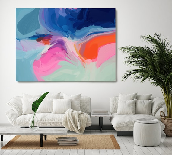 Bohemian Large Abstract Art, Blue Abstract Canvas Print Large Modern Abstract Wall Art, Abstract Painting, Solace