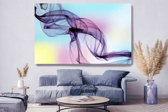 Purple Yellow Abstract Painting Flow Abstract Art, Contemporary Canvas Art Print, New Media Artwork The Invisible World-Movement 7, Line Art