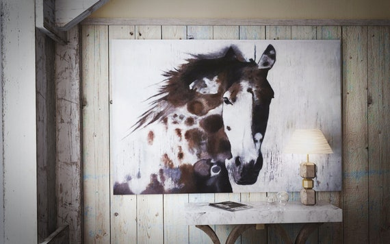 """Brown Gorgeous Horse. Extra Large Brown Rustic Farm House Original Oil on Unstretched Canvas Horse Painting 48 x 72""""  by Irena Orlov"""