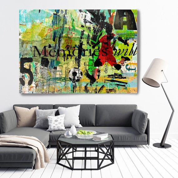 Graffiti Art - Urban Wall Art - Contemporary Wall Art - Urban Art - Football Art Soccer Art Textured Painting  Large Wall Art Canvas Print