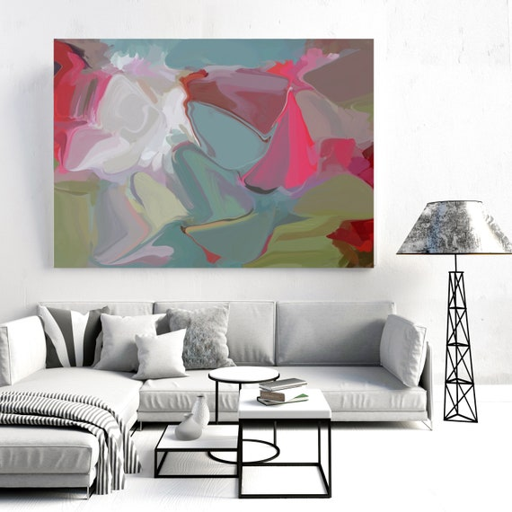 The inexplicable movements  2, Blue Pink Green Painting, Abstract painting, Acrylic fluid painting original, Canvas Art Print, Irena Orlov