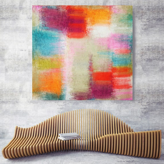 "Abstract Afternoon. Geometrical Abstract Art, Wall Decor, Large Abstract Colorful Contemporary Canvas Art Print up to 48"" by Irena Orlov"