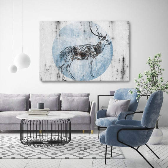 "Blue Wild Deer Canvas Art Large Canvas, Wild Deer Canvas Art Print, Wild Deer Wall Art Print up to 81"" by Irena Orlov"