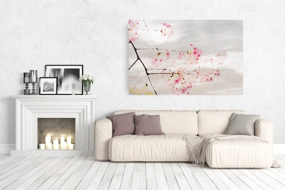 Blooming tree Painting, Landscape art, Spring tree canvas, Pink Flowers Canvas Art Print, Tree in Bloom Watercolor Painting on canvas