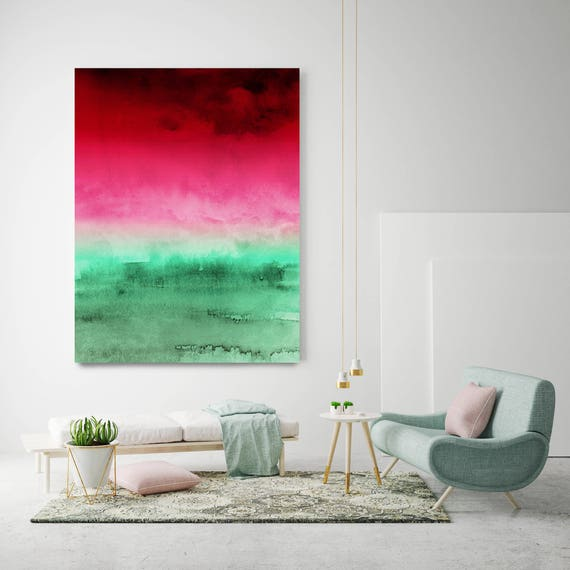 """Inspired by Rothko 42. Ombre Watercolor Abstract, Green Red Watercolor Painting Print,Extra Large Canvas Art Print up to 72"""" by Irena Orlov"""