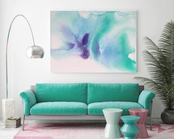 "Watercolor Coastal Abstract 90. Watercolor Abstract Blue Purple Green Canvas Art Print, Watercolor Painting Print up to 72"" by Irena Orlov"
