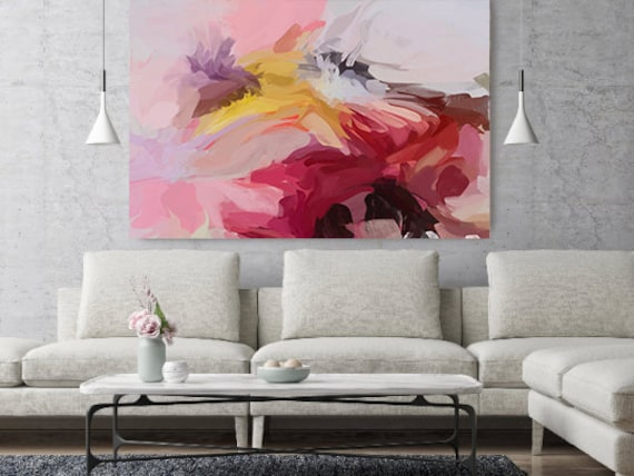 """Life Of My Dreams, Pink Orange Abstract painting Original Acrylic Abstract Art on Canvas, Fine Art Canvas Print up to 80"""" by Irena Orlov"""