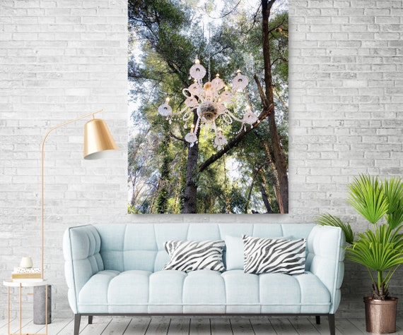 Chandelier in the Forest, Photography Canvas Print, Forest Surreal Photography, Forest Canvas Print