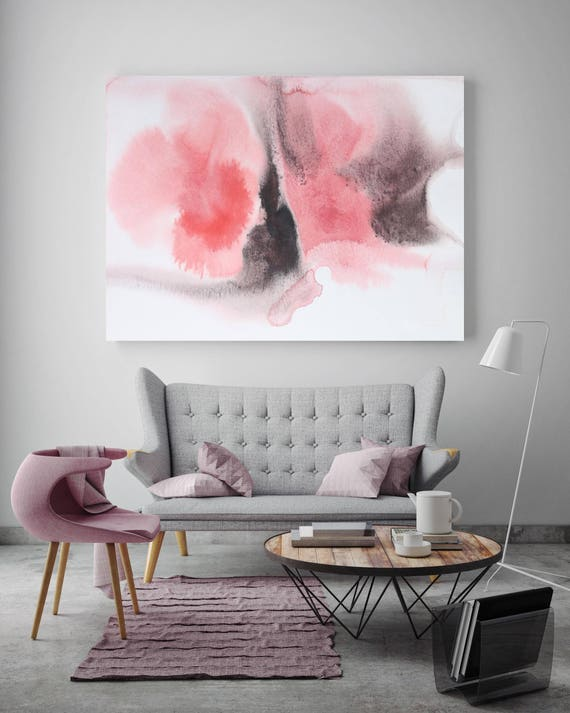 "Shades of Pink 3. Watercolor Abstract Pink Black, Watercolor Canvas Art Print up to 72"" by Irena Orlov"