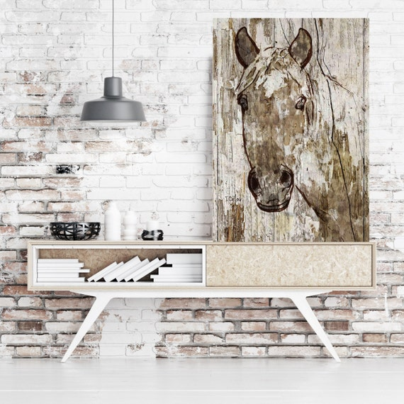 "SALE Lady Ann. Extra Large Horse, Unique Horse Wall Decor, Brown Rustic Horse, Large Contemporary Canvas Art Print up to 72"" by Irena Orlov"