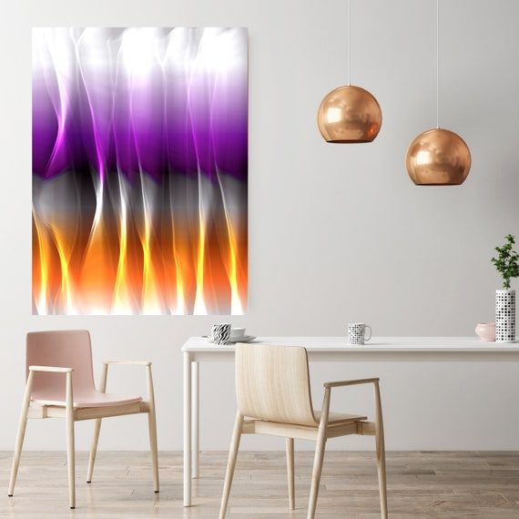 "Mysterious Light 9, Neon Purple Orange Contemporary Wall Art, Extra Large New Media Canvas Art Print up to 72"" by Irena Orlov"