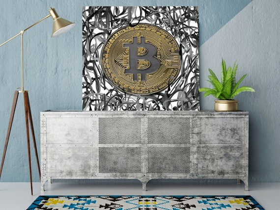 Bitcoin Circles Cryptocurrency Graffiti Canvas Print. Black Bitcoin Office Decor Cryptocurrency Wall Art, Bitcoin print, crypto BTC Graffiti