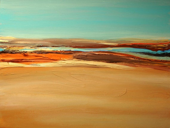 "Desert. Huge Rustic Landscape Painting Canvas Art Print, Extra Large Blue Brown Yellow Orange Canvas Art Print up to 80"" by Irena Orlov"