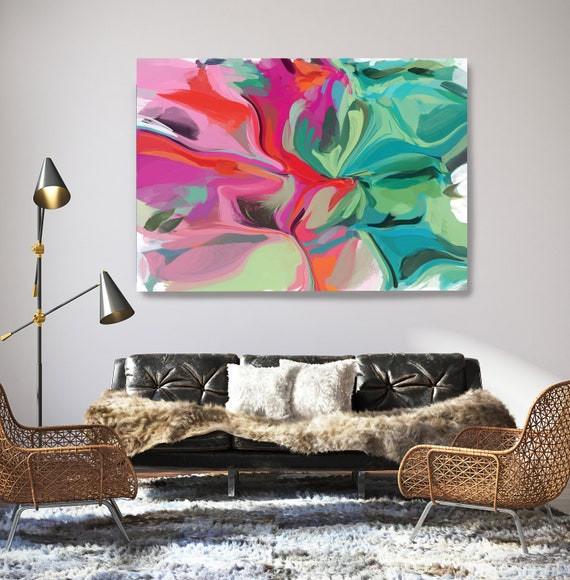 A Piece of You, Green Pink Abstract Painting Art Abstract Painting Extra Large Green Pink Painting Abstract Canvas Print