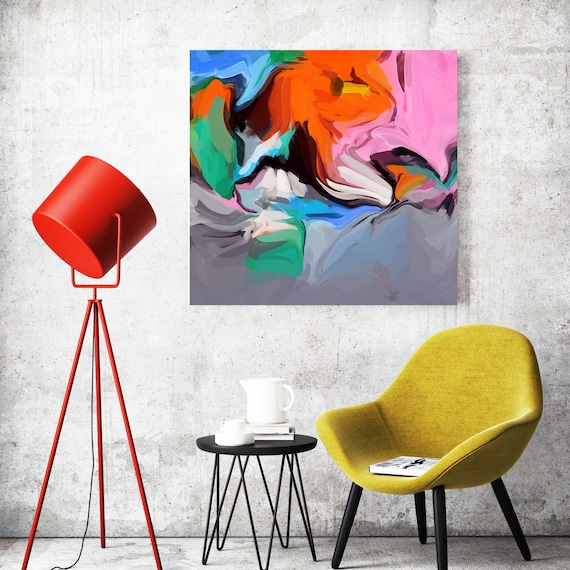 Live in Joy. BOHO Abstract Painting / Abstract Painting / Modern Art / Contemporary Art / Flow Abstract Painting/ Orange Canvas Print
