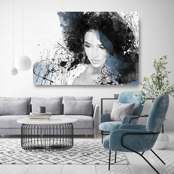 Pretty Women, Figurative painting, Woman watercolor painting print Woman Portrait Painting ABSTRACT FIGURATIVE Blue Black Woman Canvas Print