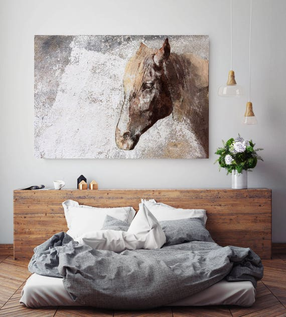 "Gorgeous Rustic Brown Horse. Extra Large Horse, Horse Wall Decor, Brown Rustic Horse, Large Canvas Art Print up to 72"" by Irena Orlov"