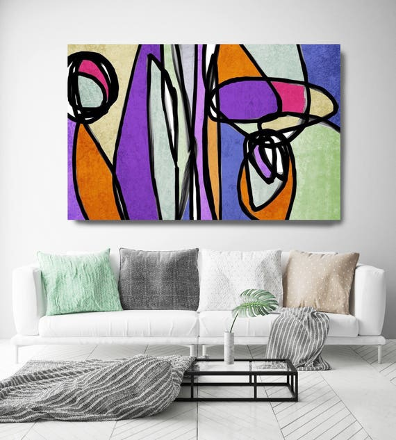 "Vibrant Colorful Abstract-54. Mid-Century Modern Green Purple Canvas Art Print, Mid Century Modern Canvas Art Print up to 72"" by Irena Orlov"