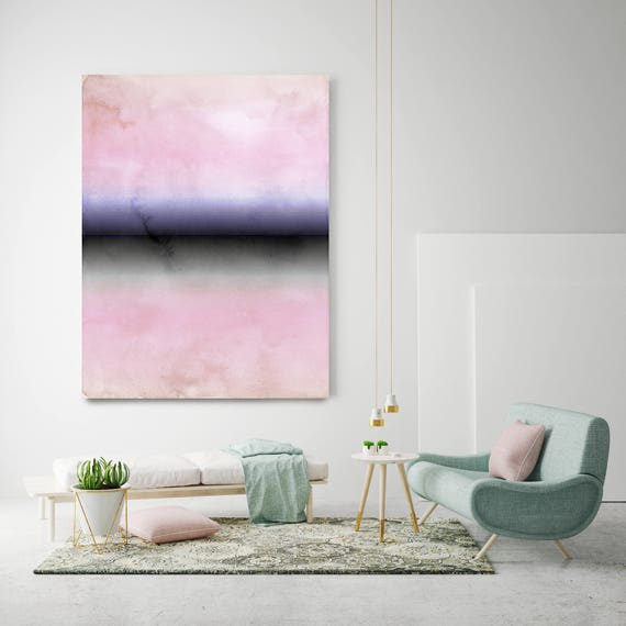 "Inspired by Rothko 38. Pink Black Watercolor Abstract, Modern Wall Decor, Large Abstract Colorful Canvas Art Print up to 72"" by Irena Orlov"