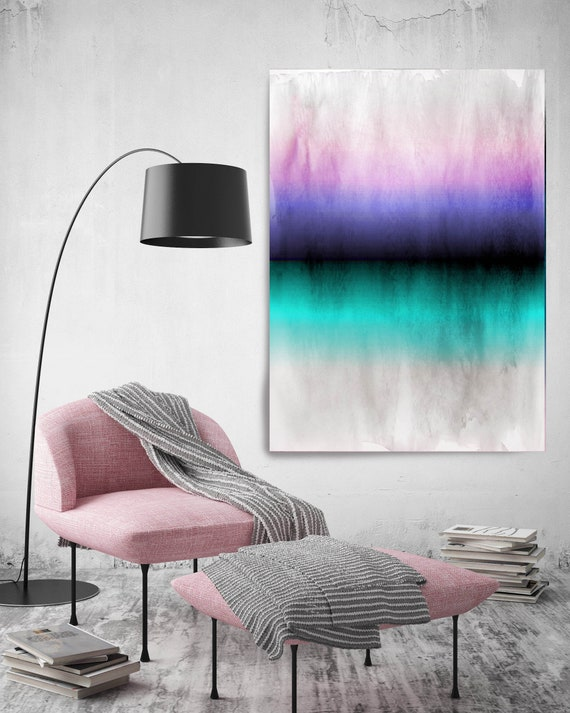 Abstract Minimalist Rothko Inspired 1-56. Abstract Painting Giclee of Original Wall Art, Blue Pink Black Large Canvas Art Print up to 72""