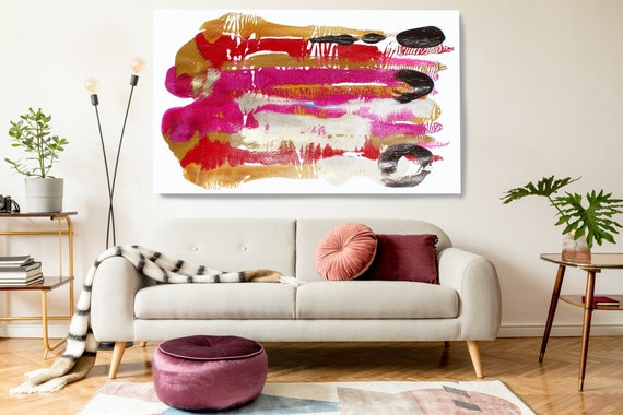 Pink Gold Reflection, Gold Hot Pink, Abstract Painting  Modern Art Abstract Painting Extra Large Painting Extra Large Abstract Canvas Print