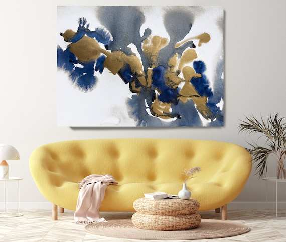 Gold in Blue Painting Watercolor Abstract 10, Contemporary Gold Painting Large Wall Art Abstract Canvas Print Gold Artwork for Home Office