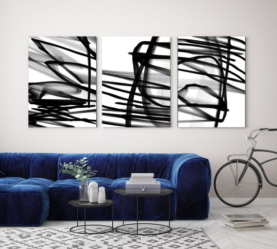 Black and White TRIPTYCH canvas prints -3 PANELS Stretched Canvas Wall Art, Canvas Art Print, Abstract Black and White Wall Decor